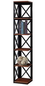 Oxford Bookcase X Design 5 Tier Corner Display Storage Bookshelf Cherry & Black