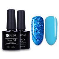 2X 7.5ml Sequins Nail Gel Polish Blue Color UV LED Soak Off Gel Varnish Design