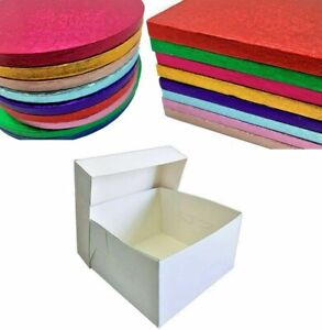 Colour Cake Drum Board & White Box + Lid Combo Pack for Wedding, Birthday Cakes