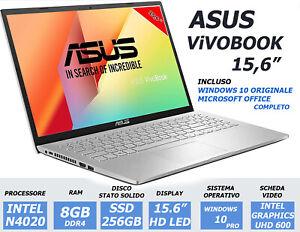 NOTEBOOK ASUS VIVOBOOK 15.6 INTEL N4020 RAM 8GB SSD 256GB PC PORTATILE NUOVO