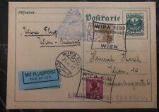 1933 Vienna Austria Airmail Postcard Cover Wipa Congress