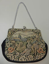 Vintage Verdi Petit Point Victorian Tapestry Kiss Lock Handbag Evening Bag Purse