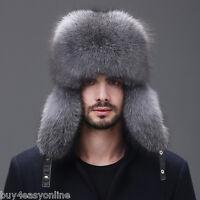 Men Winter Real Fox Fur Trapper Hat Russia Ushanka Warm Ski Outdoor Cap US stock