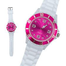 Silikon Armbanduhr Damen Kult Trend Gummi Watch weiß / pink ( F2 )