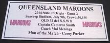 NRL QLD  State of Origin 2014 game 3 Silver  Plaque FREE POSTAGE
