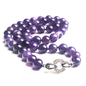 Genuine Natural 8mm Round Amethyst Necklace Choker Long 17 inch Crystal Clasp