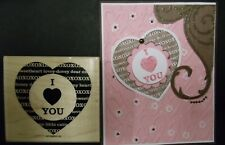 Stampin Up rubber stamp XOXOXOX background HEART w CENTER I (HEART) YOU