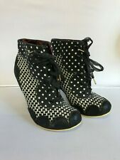 Irregular Choice Victorian Style Lace Up Heeled Ankle Boots Size 6.5/7 301547