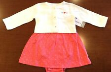 NWT CARTER'S GIRLS INFANTS SIZE 6 MONTHS TWO PIECE DRESS & CARDIGAN SET