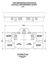 Two bedroom One bath duplex Apartment 818 sq ft per unit plan
