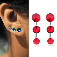 1Pair Ear Crawler Crystal Earrings Vine Bar Rhinestone Set Cuff Climber Jewelry