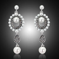 Fashion Rhinestone Pearl Long Women Wedding Bridal Party Drop Stud Earrings
