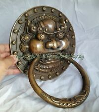 "Authentic Fengshui Brass Lion Foo Fu Dog Head Mask Statue Door knocker 11""x8.3"""