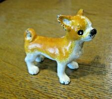 "CHIHUAHUA DOG CAST IRON PAPERWEIGHT FIGURINE Handpainted 3"" Long"
