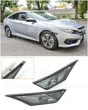For 16-Up Honda Civic CRYSTAL SMOKE Bumper Reflector Side Marker Lights Lamps
