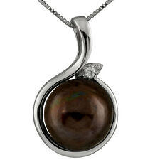 Sterling Silver rhodium  pendant/chain with 11-12mm Black mabe pearl and CZ