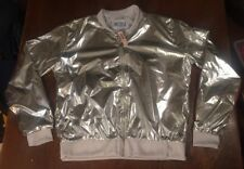 NWTs Victorias Secret Victoria Sport Silver Metallic Bomber Workout Jacket Large