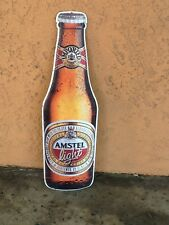 Amstel Light Beer Bottle Lithographed Embossed Metal Tin Sign