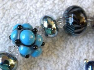 """TURQUOISE  HAND BLOWN GLASS BEAD  & CRYSTAL STERLING SILVER BRACELET 8"""""""