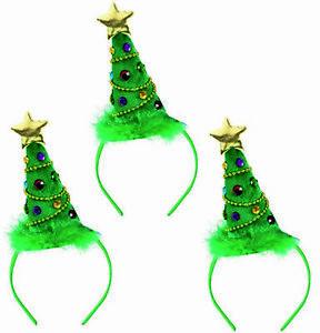 3x Christmas Tree Hat Star Novelty Fun Adult Xmas Party Fancy Dress Headwear