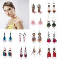Boho Dreamcatcher Tassel Owl Long Drop Dangle Earrings Hook Women Jewelry Gift