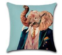 "CLASSY ELEPHANT 🐘 Heavy Linen CUSHION COVER 🐘 18""x18"" 🍁CANADIAN SELLER🍁"