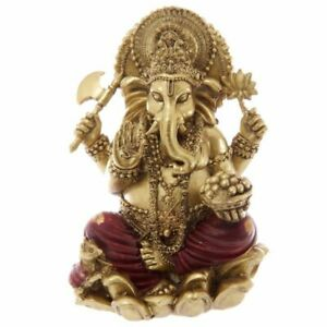 Beautiful Gold and Red Ganesh Statue Height 16 cm