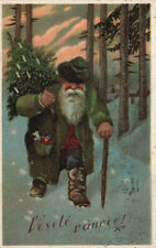 Merry Christmas Dark Green Suited Santa Claus w/Christmas Tree Postcard