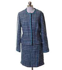 Nine West & Company Turquoise White Woven 2 Piece Skirt Blazer Set Size 14
