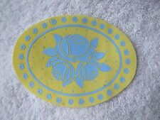 NEW! FISHER PRICE Loving Family Dollhouse YELLOW RUG Mat with Blue Roses ~ Oval