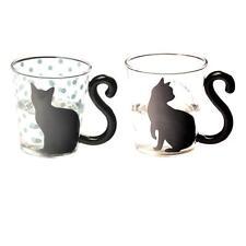 2pc Heat Resistant Glass Tea Cup Mug for Flower Green Tea Milk Coffee Cat #2