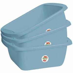 3x Schüsseln á 10 Liter - rechteckig - blau Waschschüssel Spülschüssel stapelbar