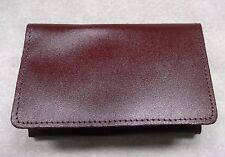 VINTAGE RETRO REAL LEATHER TRI-FOLD BURGUNDY CREDIT BUSINESS CARD WALLET 1980s
