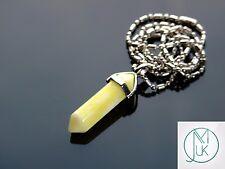 PUNTO di cristallo di Giada Gialla Ciondolo Collana Pietra preziosa Naturale Pietra di guarigione chakra