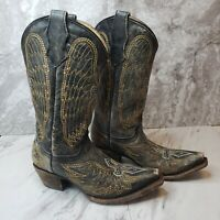 Corral Distressed Leather Wings Cross Cowboy Boots Teen Size 2.5 T Style A1029