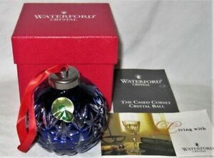 """Waterford """"The Cased  Cobalt Crystal Ball"""" Christmas Ornament w' Box"""