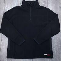 Vintage Oakley 1/4 Zip Fleece Jacket Mens Medium Black Pocket Pullover Coat SW38