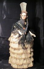 Spanish half doll, bisque lady, jointed arms, mohair wig, original costume box