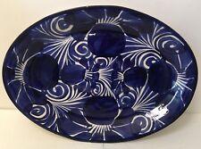 Mexican Pottery Talavera Serving Platter Dish Blue Kitchen Serve Tray Large 13.5