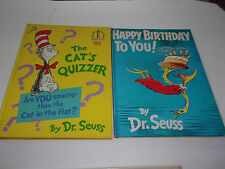 (2) Dr.Seuss Happy Birthday / Cat's Quizzer  (Large Hardcover) VGCon
