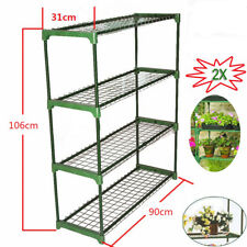 2X Greenhouse Staging Shed 4 Tier Double Pack Garage Storage Shelving Cold Frame