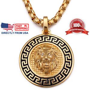 Men's Biker Jewelry, Large Greek Key Lion Medallion Pendant Necklace