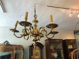 Antique  French Brass French Provincial  6 Branch Chandelier