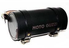 MOTO GUZZI Engraved Tool Roll Bag Genuine Black Leather Made S2u