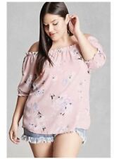3D Floral Milky Cotton Open Baby Pink Shoulder Top #A1226