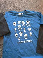 Boys Size 9 Long sleeve Tshirt Top Funny face Skull Lazy Bones mock layered New