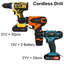 Electric Cordless Drill 21V/12V Electric Drill Combo Set with Battery & Charger