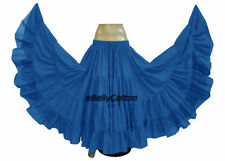 Sky Blue Cotton Gypsy Skirt 25 Yard 4 Tiered Tribal Belly Dance Flamenco jupe