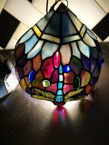 Tiffany Style Stained Glass Dragonfly Wall Lamps Light Shades x 2 R.V ASTLEY