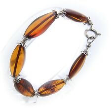 Bracelet REAL Amber from of the Baltic Sea Cognac Oval